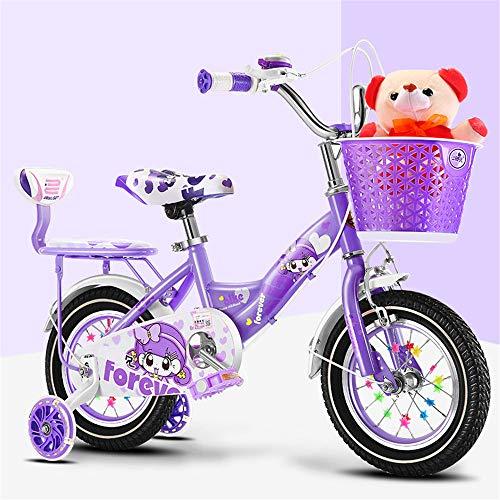 JHKGY Bicicleta para Niñas para Niños De 2 A 9 Años,Marco De Acero De Alto Carbono,con Ruedas Auxiliares Iluminadas, Asientos Traseros Y Cesta,Bicyle para Niños,Púrpura,12 Inch