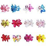10 horquillas para el pelo con diseño de flores multicolor de doble orquídea para mujeres y niñas, accesorio para novia, boda, fiesta, playa, estilo de pelo