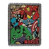 Marvel's Avengers, 'Retro Heroes' Metallic Woven Tapestry Throw Blanket, 48' x 60', Multi Color