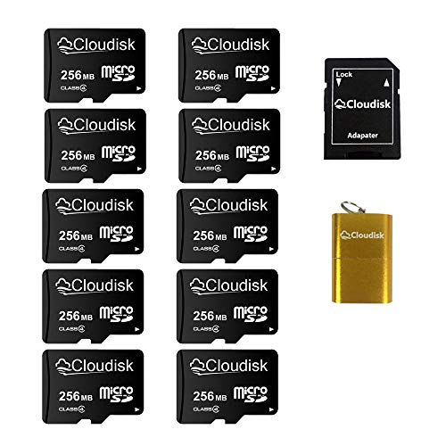 Cloudisk 10Pack 256 MB di piccola capacità NON GB, speciale per archiviazione di piccoli dati, pubblicità, promozione o uso aziendale, con adattatore + lettore di schede