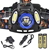 Lista LED + 2 COB Light Hand Free Lights Front Rechargeable HEADLAMPS