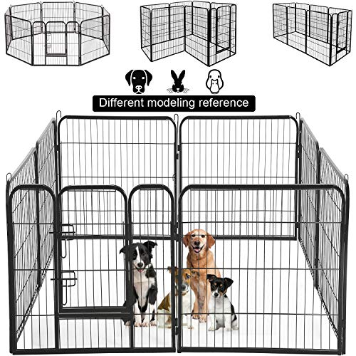 Dog Pen Extra Large Indoor Outdoor Back or Front Yard Fence Cage Fencing Doggie Rabbit Cats Playpens Outside Fences with Door Dog Fence Playpen Heavy Duty 8 Panels 40 Inches Exercise Pen Dog Crate Cag