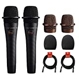 Blue enCORE 200 Active Dynamic Handheld Vocal Microphone (Black) 2-Pack with (2) 1-5/9' Foam Windscreen & (2) XLR Cable Bundle