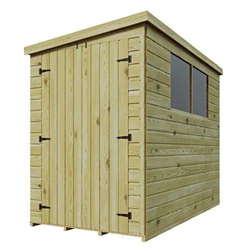 Gartenhaus aus Holz, druckimprägniert, Überfälzung, Nut und Feder, mit Pultdach, mit Fenstern, hohe Seitentür