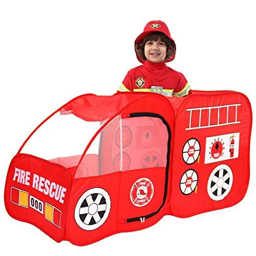 ionlyou Children's Tent Pop Up Fire Truck Firefighter Pretend Play Gamehouse Toy Hut Pool Tents Kids Children Playhouse Tent Portable