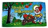 Fahne/Flagge Herzlich Willkommen Gartenzwerg 90 x 150 cm
