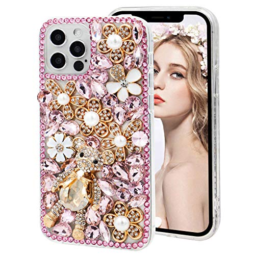 Compatible with Galaxy S20 Plus Case,MOIKY Luxury Bling Diamond Crystal Rhinestone Cute Cartoon Bear 3D Handmade Silicone Shockproof Clear Samsung Galaxy S20+ Plus Case for Women Girls Kids Gift,Pink