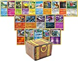 100 Assorted Pokemon Cards - 3 Foil Cards, 2 Holo Rare Cards and 95 Assorted Cards - All Cards are Authentic - Includes Golden Groundhog Treasure Chest!