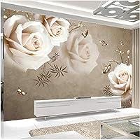 Xbwy 装飾壁画壁壁画ヴィンテージホワイトローズ壁紙リビングルームベッドルームロマンチックな家の装飾-120X100Cm