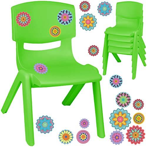 alles-meine.de GmbH Kinderstuhl / Stuhl - Motivwahl - grün + Sticker - Bunte Blumen & Blüten - inkl. Name - Plastik - bis 100 kg belastbar / kippsicher - für INNEN & AUßEN - 0 - ..