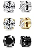 ORAZIO 3 Pairs Stainless Steel Magnetic Stud Earrings for Womens Mens Non Piercing Cubic Zirconia 6mm