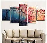 LSDAMN Cinco Paneles Pintados de inyección de Tinta decoración del hogar Pintura Niebla Bosque impresión Cinco hechizos Lienzo Pintura artesanía Pintura