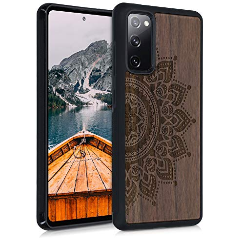 kwmobile Hülle kompatibel mit Samsung Galaxy S20 FE - Handyhülle Holz TPU Cover - Aufgehende Sonne Dunkelbraun