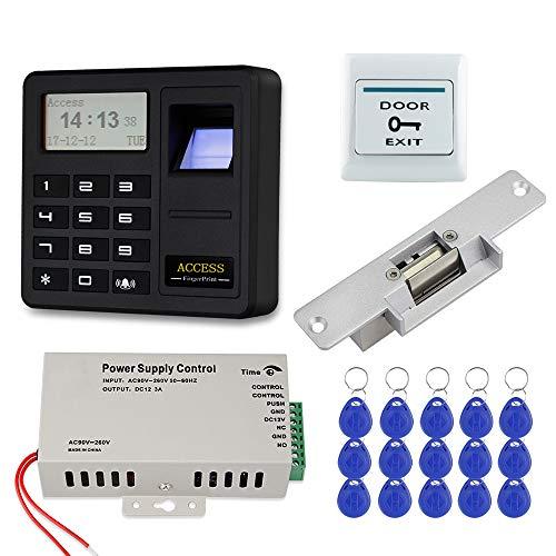 FST Kit de Sistema Control Acceso a la puerta Huella Dactilar Biométrica Teclado Control Acceso RFID + Fuente Alimentación 12 V 3 A + Cerradura Eléctrica + 15 Tarjetas llave