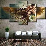 BONAH 5 Piezas Modular HD Dibujos Animados Pared Arte Lienzo Pintura Mural sobre Lienzo Impresión...