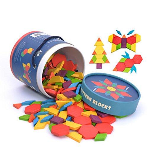 mideer木製ジオメトリパターンブロック認識おもちゃカラフルな木製ビルディングブロックEarlyLearning250pcs