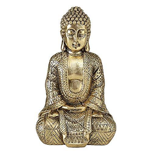 CasaJame Buddha - Figur Zen sitzend, Statue in groß zur Meditation, Feng Shui deko aus Kunstharz in Gold, 20 cm hoch