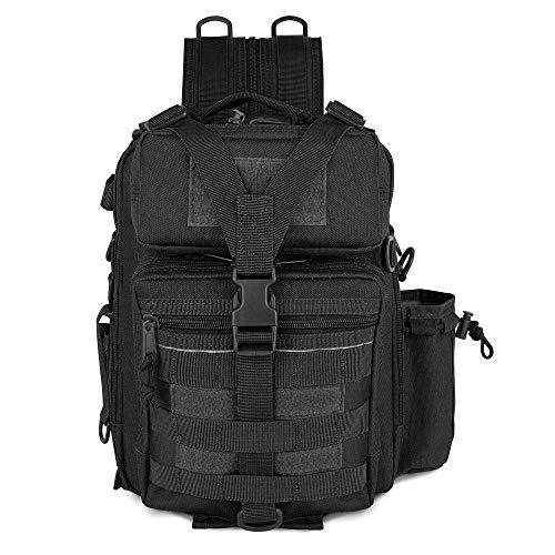 Obemisk Fishing Tackle Bag with Rod Holder, Water-Resistant Fishing Backpack with Adjustable Shoulder Straps Fishing Storage Bag Cross Body Sling Bag for Men and Women