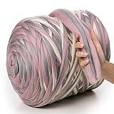 MeriWoolArt 100% lana merina, hilo grueso, súper suave, 25 micrones extra grueso | 4-5 cm | Brazo Tejido Manta Lanzamiento Bufandas Vestir Hilado Fieltro (Pink-Grey-Melange, Rollo de 4,7 Kg)