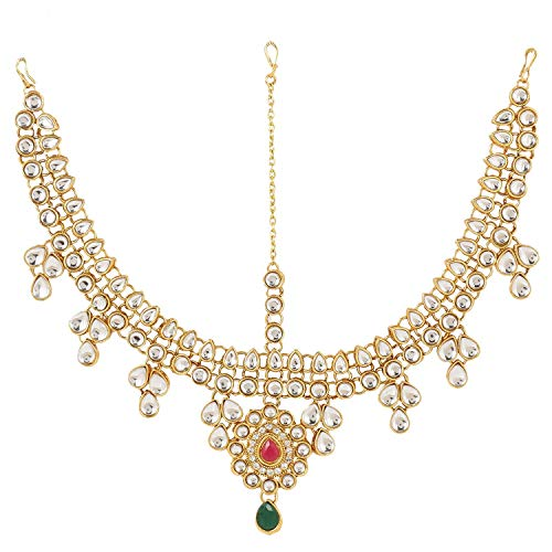 Efulgenz Indischer Bollywood-Vintage-Stil, vergoldet, Mang Tikka Kristallperle, Kopfkette, Brautschmuck, Hochzeitsschmuck, Haarschmuck