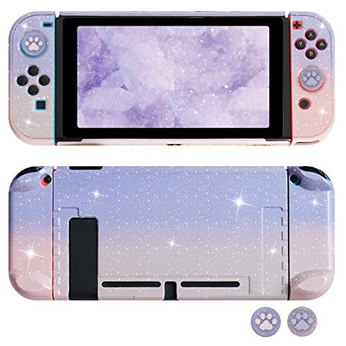 FANPL Glitter Case for Nintendo Switch, Hard Shell Dockable Protective Case Cover for Switch and JoyCon Controller with Glitter Cat Paw Thumb Grips (Gradient Pink and Purple)