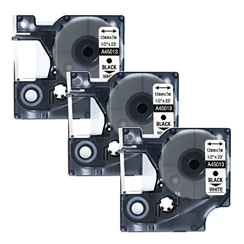 Nastro per Etichette Unistar Compatibile In sostituzione di Dymo 45013 S0720530 Nero su Bianco 12mm x 7m, 3-Pack Nastro compatibile per Dymo LabelManager 160 200 210D 220P 260 260P 280 300 360D