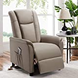 BOSSIN Single Recliner Chair Fabric Recliner Sofa with Padded Seat,Adjustable Modern Single Reclining Chair with Pocket for Living Room(Fabric, Beige)