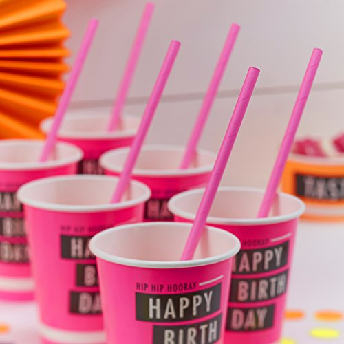 Ginger Ray Neon Pink Fluorescent Party Paper Cups - Neon Birthday