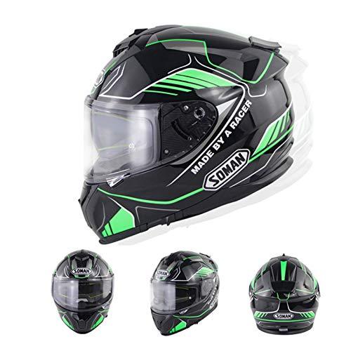 Casco de Motocicleta de Cara Completa Flip-up Motocross Helmet Moto Road Riding Casco Modular con Viseras Dobles, Certificado por ECE,XXL
