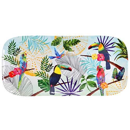 Les Jardins de la Comtesse - Petit Plateau rectangulaire en Mélamine Pure – Multicolore – Gateaux/Cake - Plat Long de Présentation - Toucans de Rio - Collection Vaisselle MelARTmine - 37,5 cm