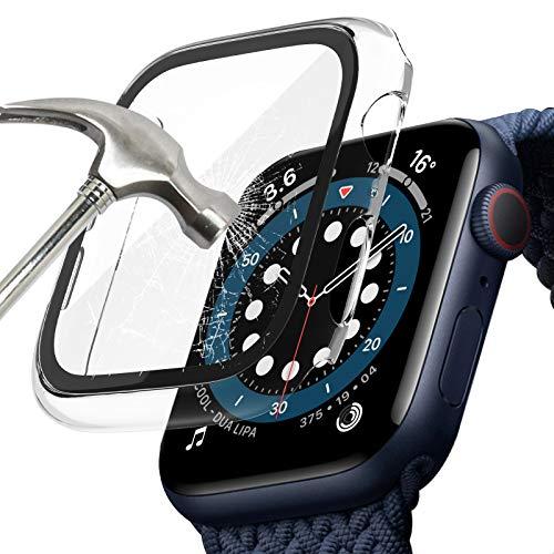 TOPACE Hülle mit für Apple Watch Series 6 / SE/Serie 5 / Series 4 Hülle Mit Panzerglas Displayschutz, 360°Rundum Schutzhülle, Ultradünne PC Hardcase für iWatch (44MM, Transparent)