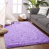 Beglad 5.3 ft x 7.5 ft Soft Fluffy Area Rug Modern Shaggy Bedroom Rugs for Kids Room Extra Comfy Nursery Rug Floor Carpets Boys Girls Fuzzy Shag Fur Home Decor Rug, Purple