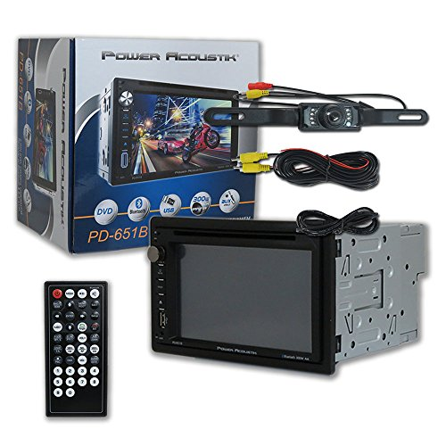 Power Acoustik PD-651B Double DIN 2DIN 6.5 Touchscreen Car DVD MP3 CD Stereo with Bluetooth & Remote + DCO Waterproof Backup Camera with Nightvision