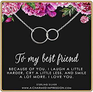 To My Best Friend • Friendship Gift for Women • 925 Sterling Silver • 2 Connected Circles Necklace • Birthday Idea for Besties • Soul Sisters • Thank You • I Love You • Handcrafted Gratitude Jewelry