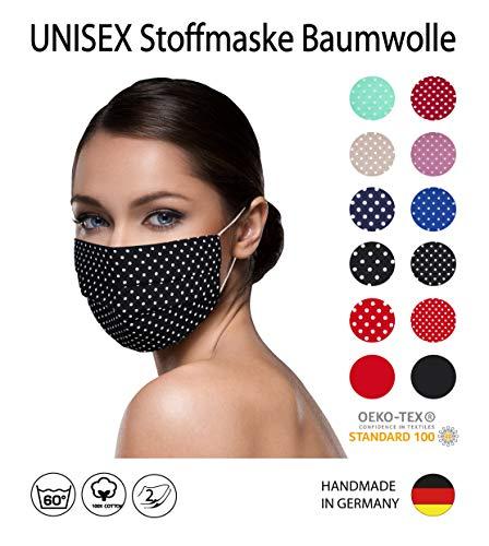 SCHWARZ weiß kleine Punkte Facies unisex, gepunktet, wiederverwendbar 60 Grad waschbar aus Baumwolle 2-lagige Stoff Facies hergestellt in Berlin sofort lieferbar Punkte 2 mm