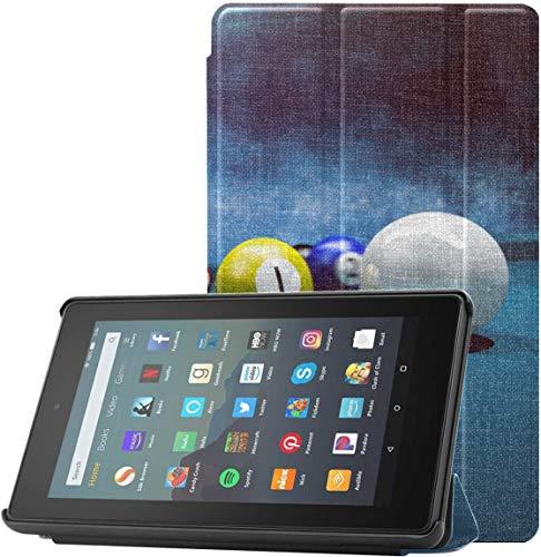 Funda para Tableta Fire 7 Billiards en la Mesa de Fieltro Rojo Kindle 7 Pulgadas Funda para Tableta Fire 7 (novena generación, versión 2019) Ligera con Reposo automático/activación