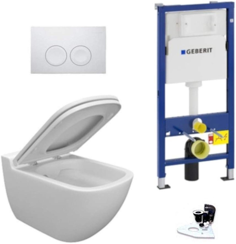 Geberit Vorwandelement + Ference WC + Drückerplatte + WC-Sitz Delta21