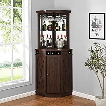 Corner Bar Unit with Built-in Wine Rack and Lower Cabinet  Mahogany