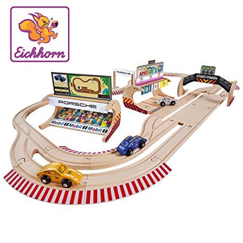 Eichhorn 109475855 - Schienenbahn Set Porsche Racing, 53-tlg., inkl. Zubehör, Streckenlänge: 610cm, FSC 100% Zertifiziertes Buchenholz