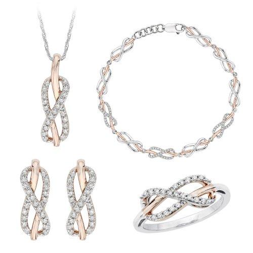 infinity de joyas de diamante en plata de ley de dos tonos (7/8quilates)