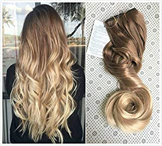 20 Inches 3/4 Full Head One Piece Ombre Dip Dyed Loose Curls Wavy Curly Clip-in Hair Extensions (light brown to sandy blonde) DL