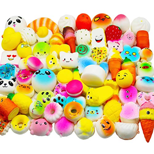 Huastyle 20pcs Squishies Toys Random Jumbo Medium Mini Slow Rising Kawaii Squishy Cake/Panda/Bread/Buns Phone Straps for Treasure Box Prizes Classroom