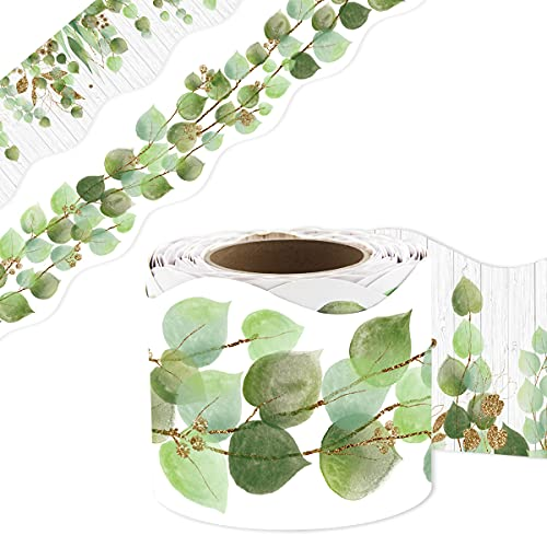Eucalyptus Die-Cut Border Trim 36ft Per Roll Two Sided Printed Leaves Border for Classroom Back to School Decoration