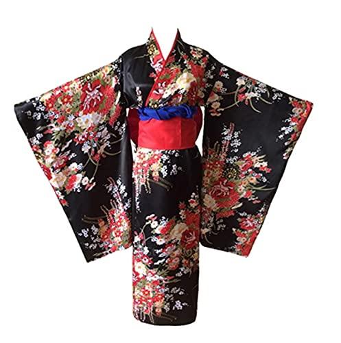 LBWNB Disfraz de kimono tradicional japons para nia infierna, disfraz de Obi Haori, vintage, con diseo floral, para Halloween, color oscuro, 11 unidades