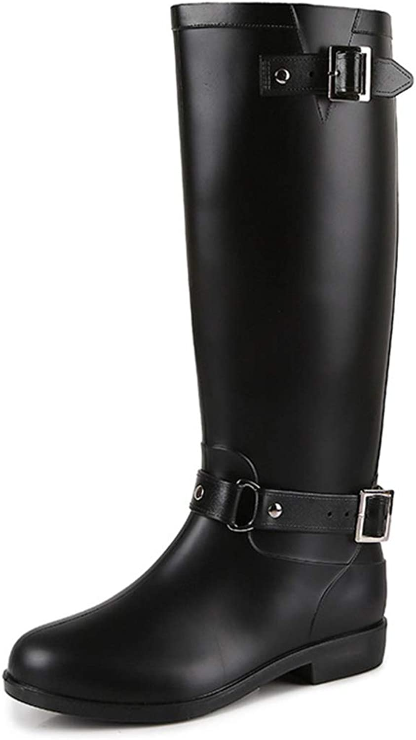 Women Waterproof Anti Slip Buckle Tall Rain Boot Back Zipper Warm Snow Boots