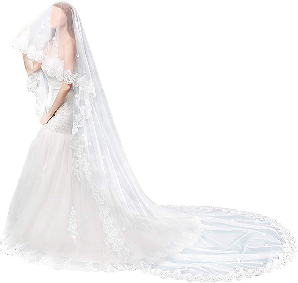 TINTON LIFE Wedding Bridal Veil Cathedral Lace Edge Womem's Long Appliques Veil 2 Tier, Light Ivory