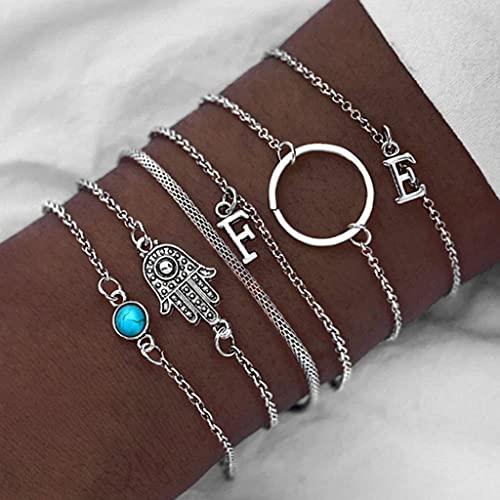 Branets Boho Set di braccialetti turchesi Braccialetti con cerchio argento Accessori per le mani a lettera per donne e ragazze