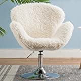 Comfy Vanity Home Office Chair Without Wheels, Cute Faux Fur Desk...