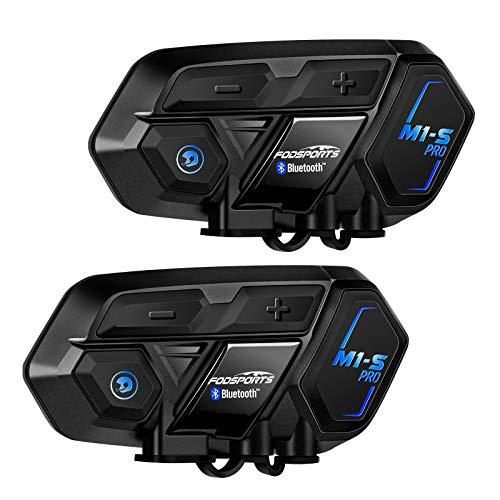 FODSPORTS M1S PRO Interfono Moto Bluetooth Coppia Casco Con Audio Stereo Hi-Fi,CVC Riduzione Rumore,Auricolare Casco Moto Supporta Interfono Per 8 Motociclisti Simultaneo Entro 2000m,Mani liber
