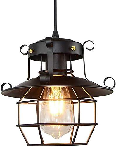 William 337 Pendentif Retro Unique Plafond Lustre Créatif Suspendu Lustre En Fer Forgé Lustre (22 cm  22 cm) (Couleur   A-Lumière blanche chaude)